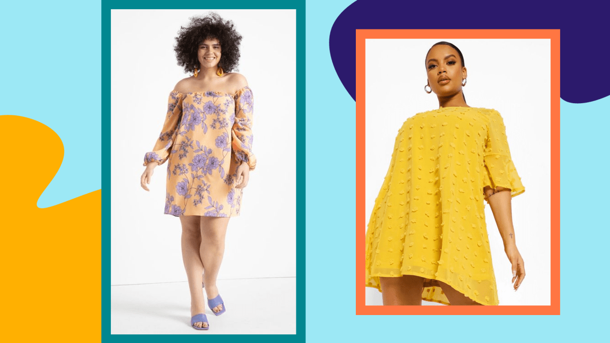 Two models wearing plus-size shift dresses.