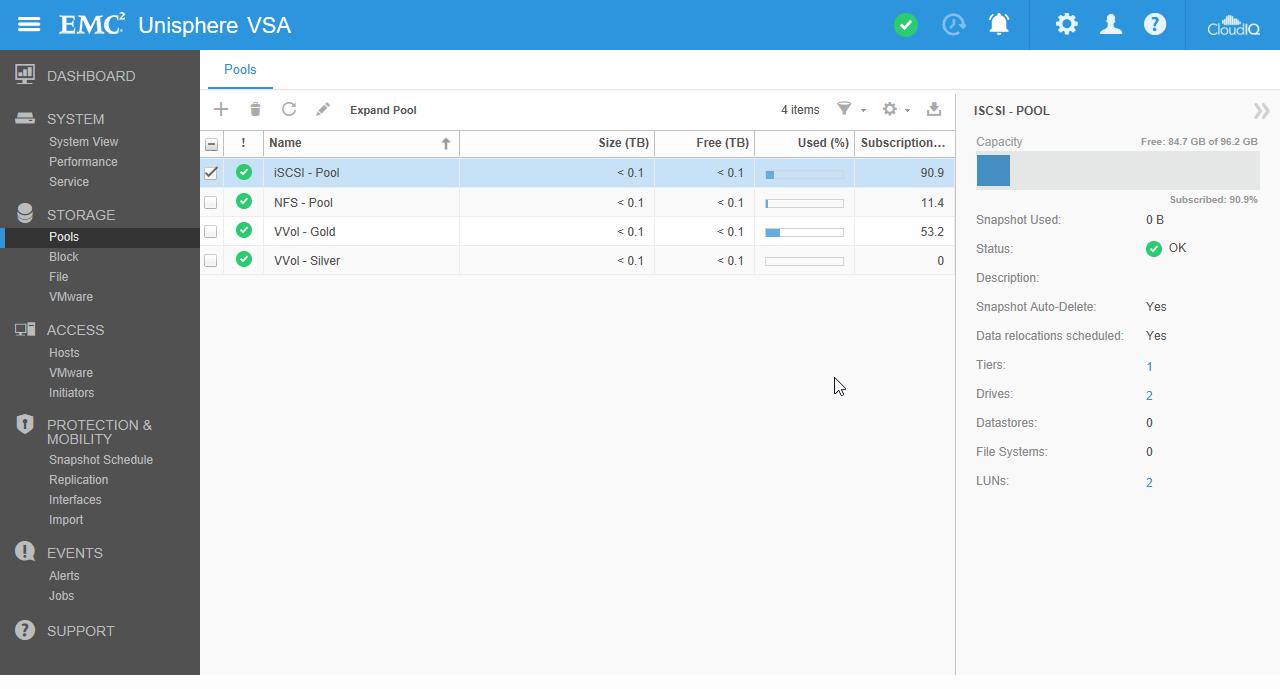 UnityVSA - Storage Pool
