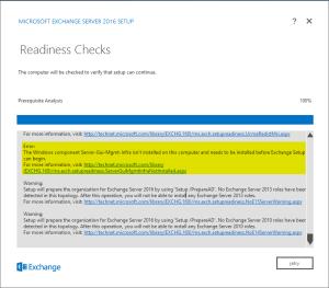 Installation Microsoft Exhange 2016 on Windows Server 2016 - Readiness Checks Fail