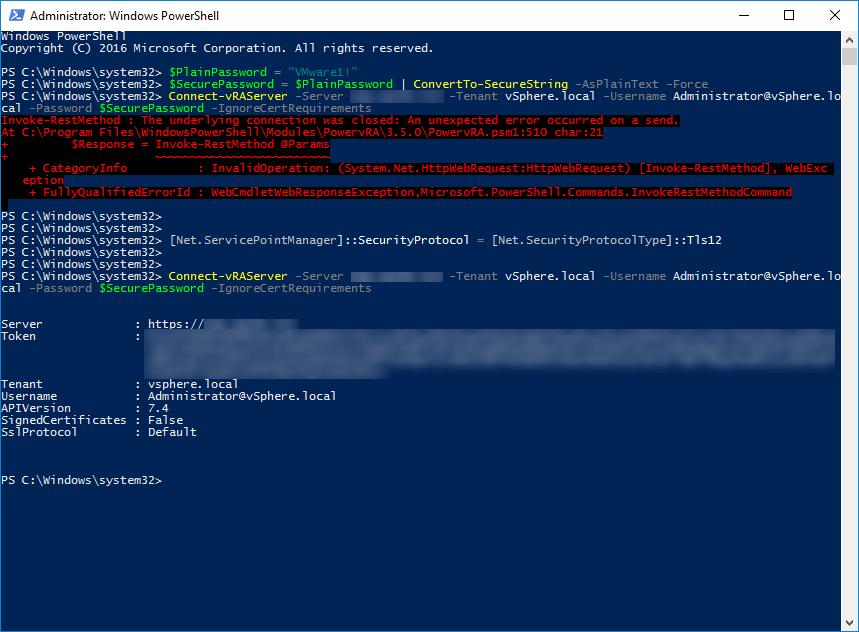 PowervRA - Invoke-RestMethod : The underlying connection was closed