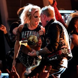 LOS ANGELES, CA - FEBRUARY 12: Recording artists James Hetfield (R) and Lady Gaga perform onstage during The 59th GRAMMY Awards at STAPLES Center on February 12, 2017 in Los Angeles, California.   Kevork Djansezian/Getty Images/AFP