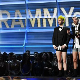 LOS ANGELES, CA - FEBRUARY 12: Recording artists Josh Dun (L) and Tyler Joseph of Twenty One Pilots, accept the award for Best Pop Duo/Group Performance, onstage during The 59th GRAMMY Awards at STAPLES Center on February 12, 2017 in Los Angeles, California.   Kevork Djansezian/Getty Images/AFP