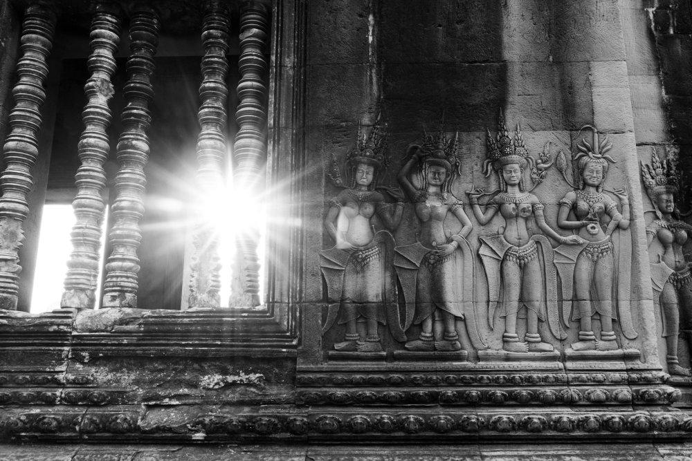 Early morning light shining through the walls of Angkor Wat