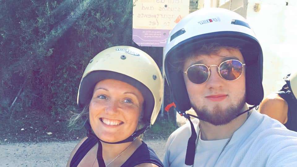 Photo of Bea and Peter Abrams on the quad bike
