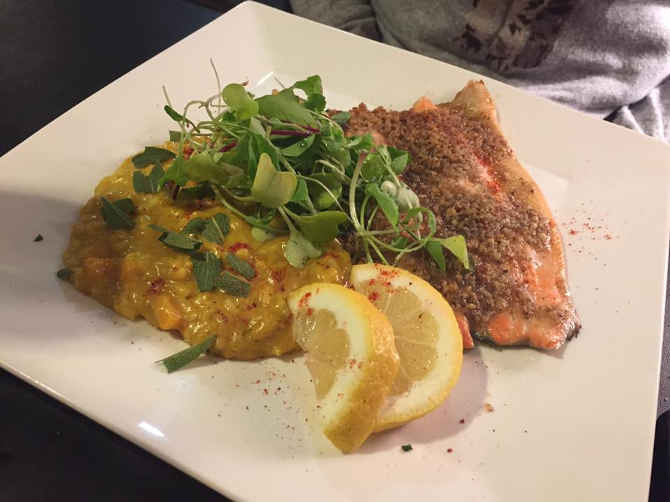 Photo of y trout dish with pumpkin risotto