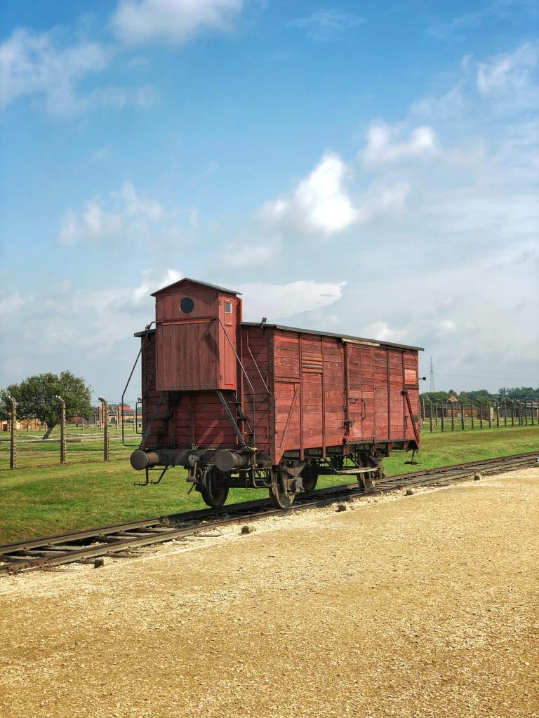 Photo of one of the cattle train carriages used to transport Jews to their death