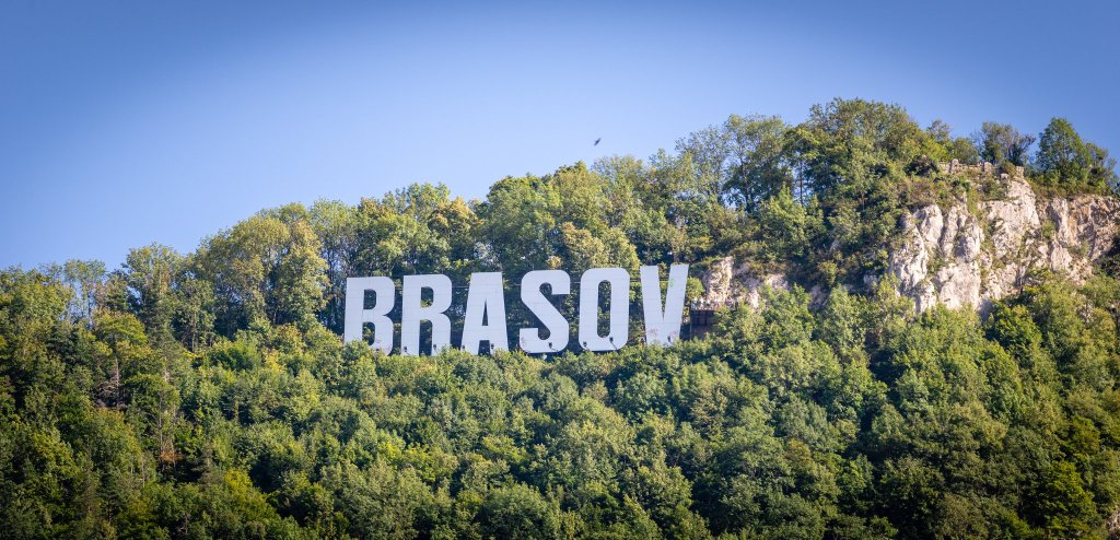 Hollywood style sign to welcome you to Brasov