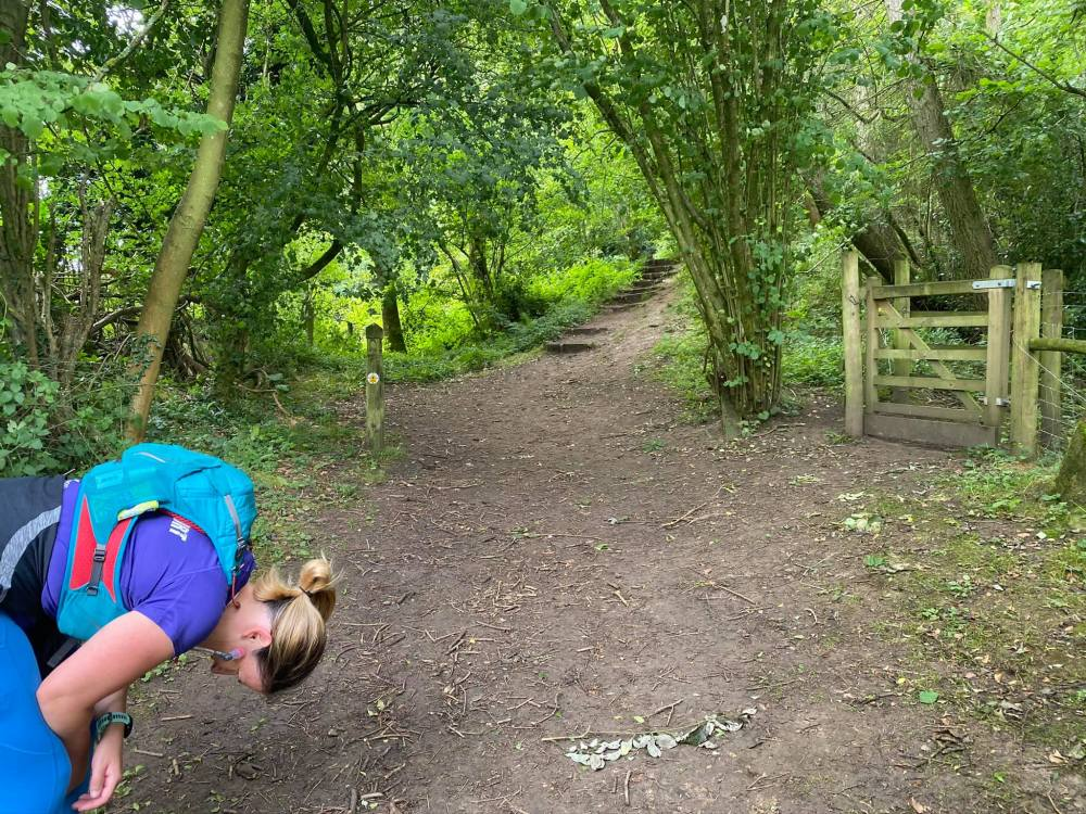 """Rachel bent over in a """"I can't do this any more stance"""" as we faced yet more stairs and hill on the Cotswold Way."""