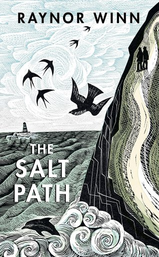 Book cover for the Salt Path which is a drawing of the sea, a cliff side path, dolphins, birds and a lighthouse in the distance.