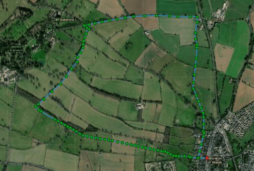 Aerial view of Moreton in Marsh to Batsford Loop