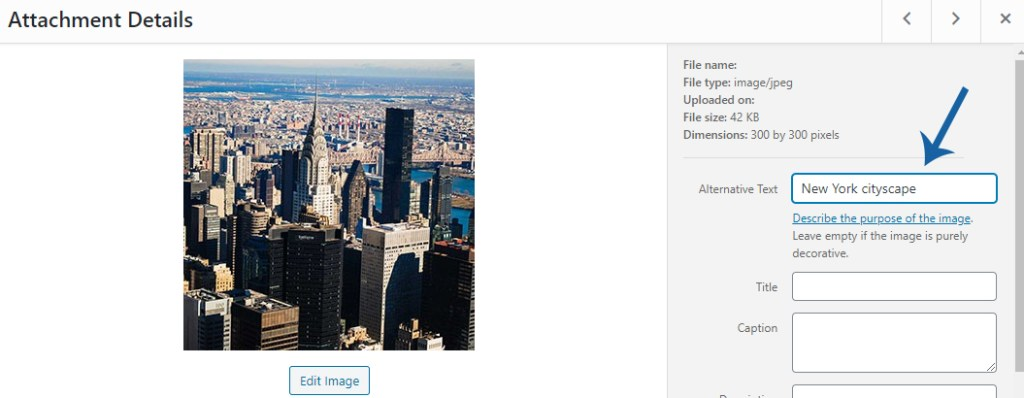 screenshot of of WordPress image attachment details with arrow pointing to alternative text field