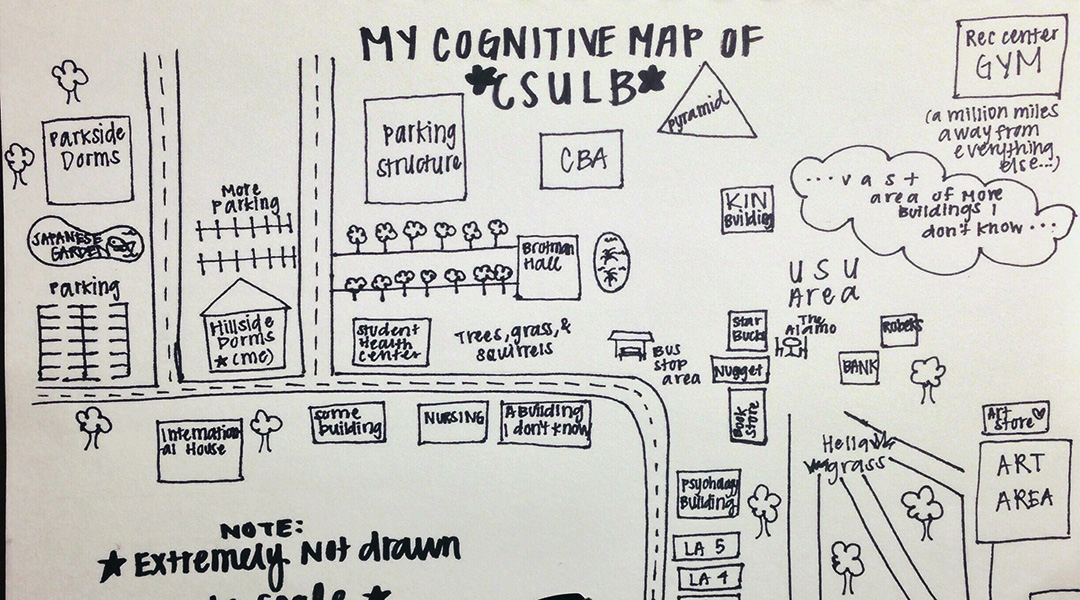student drawn cognitive map of the CSULB campus