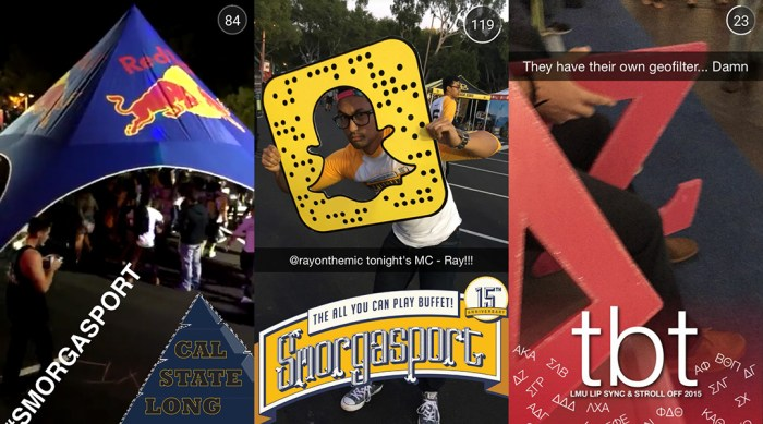 triptych of SnapChat screen caps