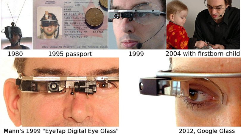 series of photos showing 30-year evolution of Steve Mann's Eyetap wearable video and computing apparatus