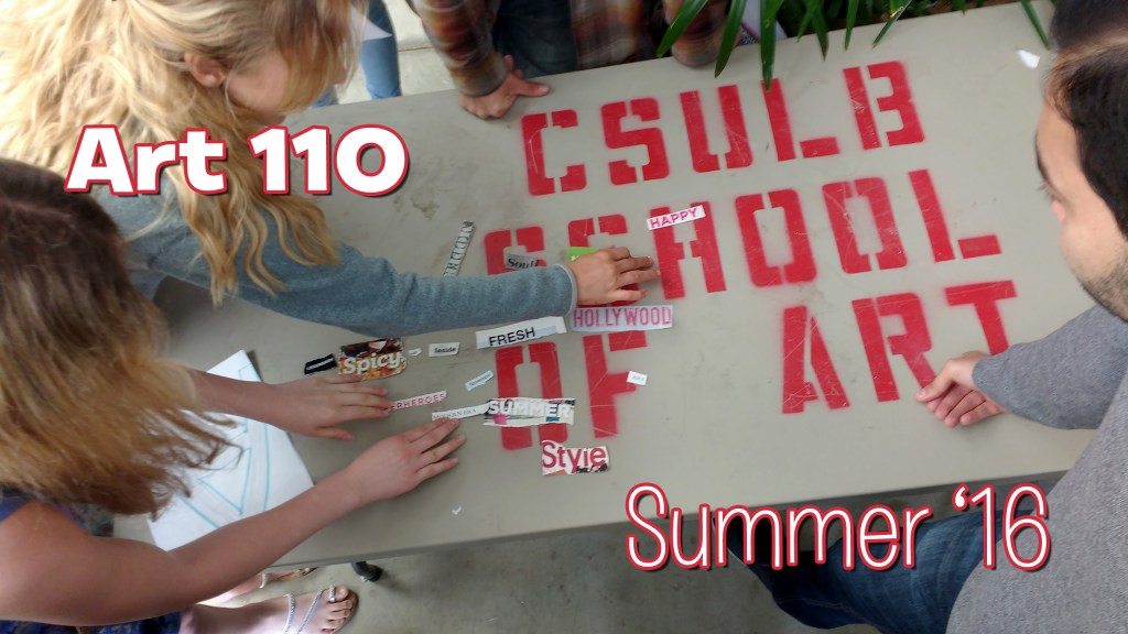 """Students arranging """"words"""" torn from magazines on a large table that has the stenciled words """"CSULB SCHOOL OF ART"""" on it's surface. CSULB School of Art, Dutzi Gallery, May 2016."""