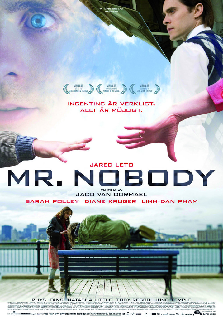 movie poster for the film Mr. Nobody featuring the title text, and various vignetted images from the film