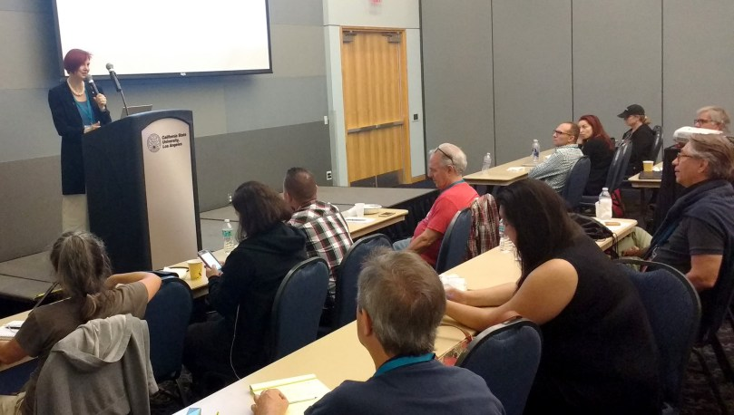 """Sallie Goetsch speaking at WordCamp LA '16 on the topic """"Is WordPress the Best Tool for This Job?"""""""