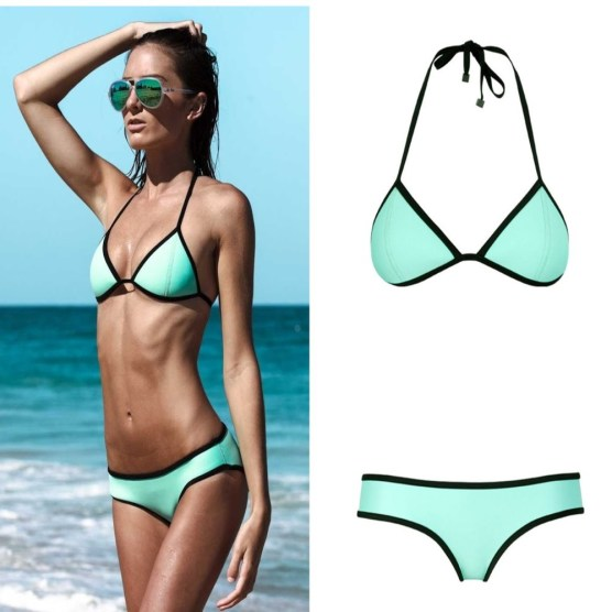 green triangl bikini