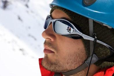 skier helmet sunglasses