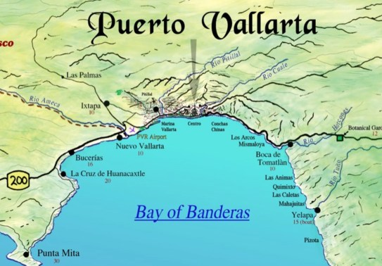 Banderas Bay Mexico map