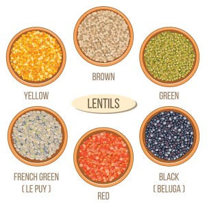 Different types of lentils in bowls. Basmati, wild, jasmine, long brown, arborio, sushi