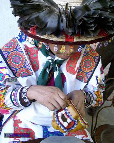 Huichol artist hard at work.