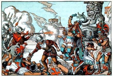 Spanish fighting Aztecs