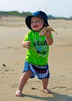 baby catches fish