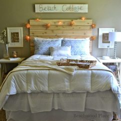 Beach Themed Living Room Decorations Beautiful Home Interior Theme Guest Bedroom With Diy Wood Headboard, Wall ...