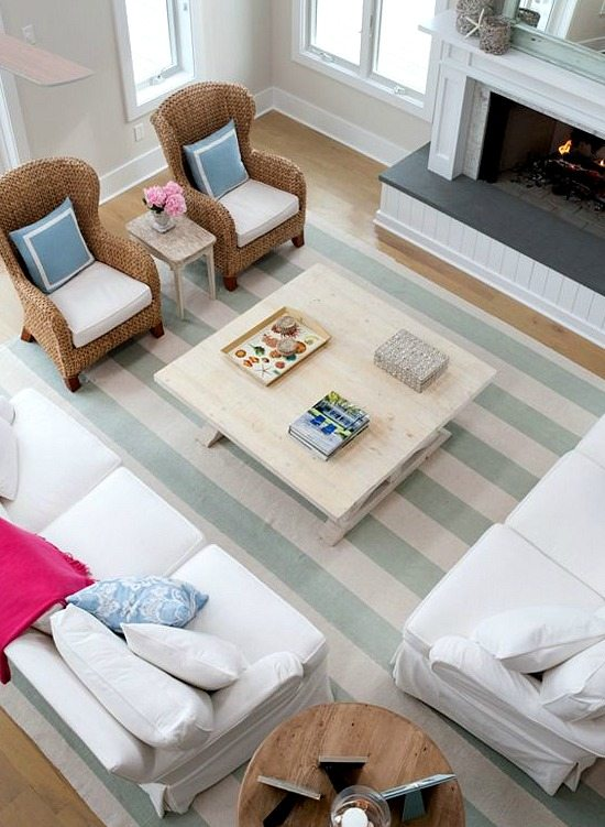 Create a Beach Vacation Feeling in your Home with Blue Cabana Stripes  Beach Bliss Living