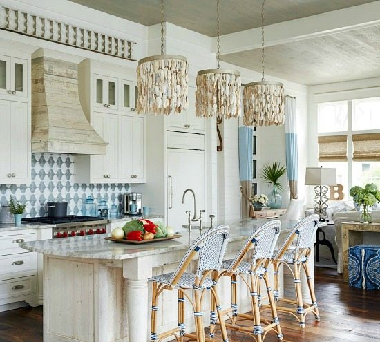 chandelier over kitchen island modular outdoor kitchens elegant home that abounds with beach house decor ideas ...