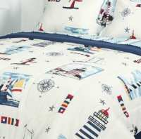 Lighthouse & Sailboat Nautical Queen Comforter Set (Bed in ...