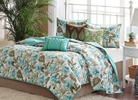 Turquoise Tropical Palm Leaf Quilt Set (6 Piece Bed In A Bag)