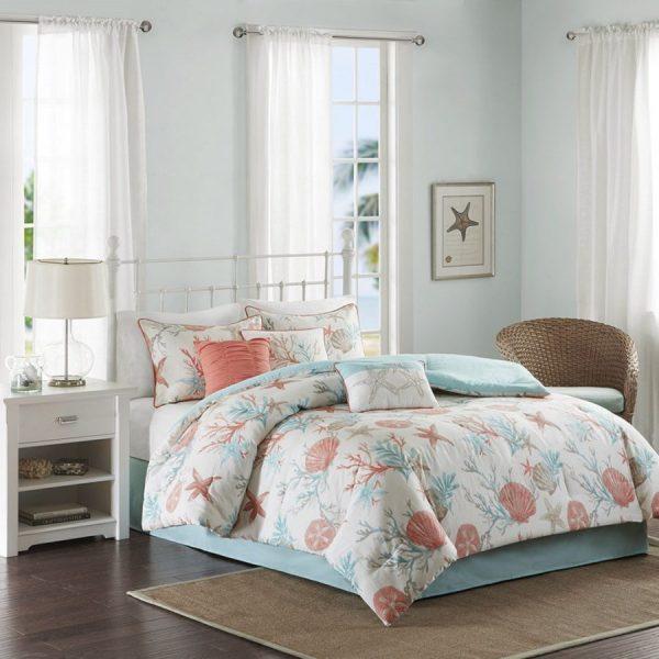 Coral & Teal Seashells Comforter Set Bed In Bag