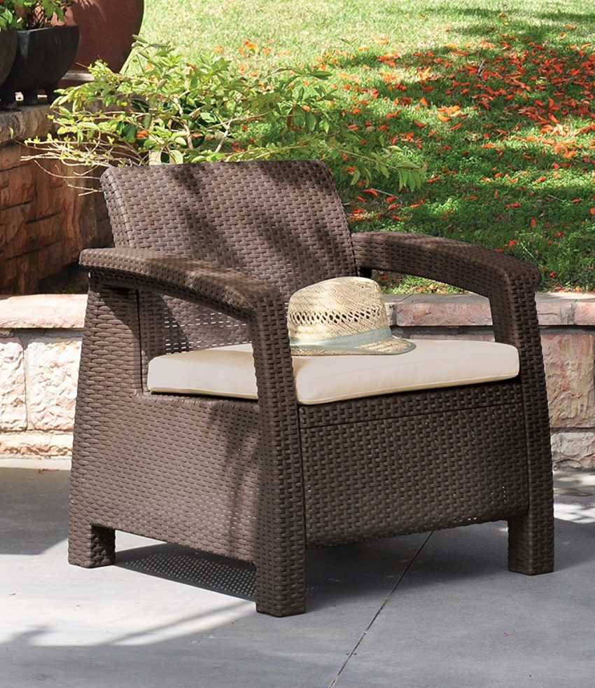 comfortable wicker chairs ice fishing chair cabela's keter corfu 4pc brown