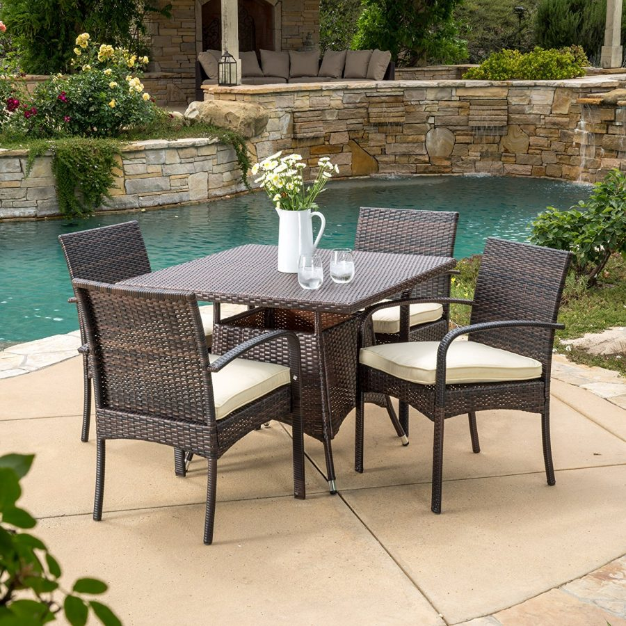 Outdoor Wicker Dining Chairs Carmela 5pc Small Outdoor Wicker Dining Set