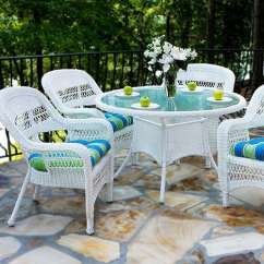 White Wicker Chairs And Table Mickey Mouse High Chair Banner Best Furniture Beachfront Decor Portside 5 Piece Outdoor Dining Set