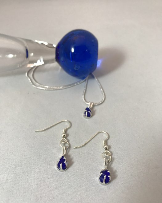 Matching Set of Cobalt Necklace and Earrings