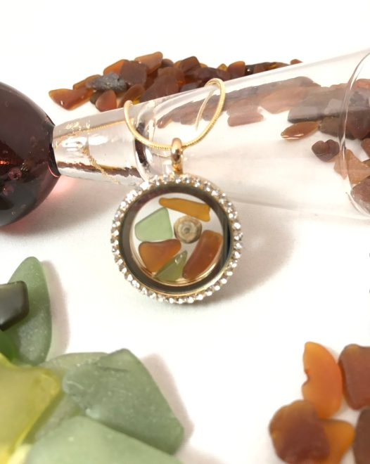 Magnetic Locket with Beach Glass, Brown and Olive