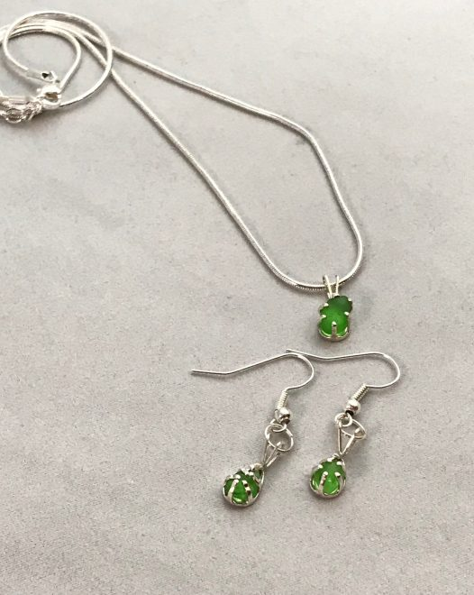 Matching Set Of Lime Green Necklace And Earrings