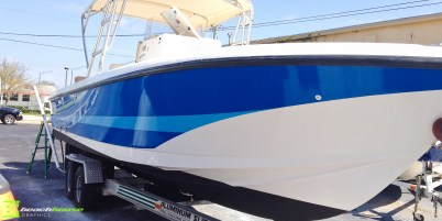 Blue Boat Wrap with Stripe - Ormond Beach FL