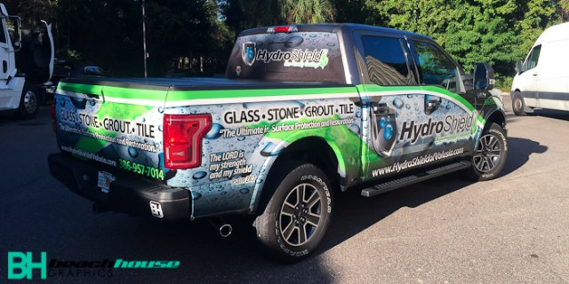 Truck wrap in Daytona with custom artwork