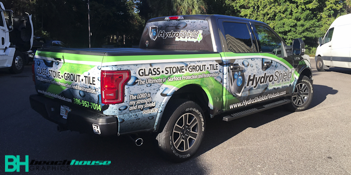 Truck wrap in Daytona with custom artwork