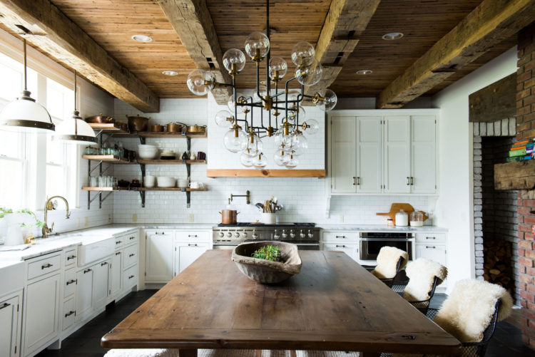 With White Cabinets, White Subway Tile Reaching All The Way To The Ceiling,  And White Countertops, This Gorgeously Rustic Kitchen Manages Not To Feel  Too ...