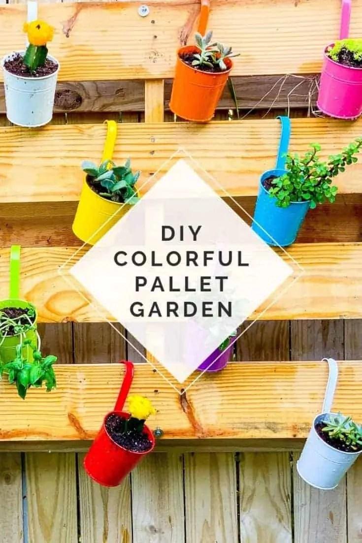 DIY Colorful Pallet Garden Project