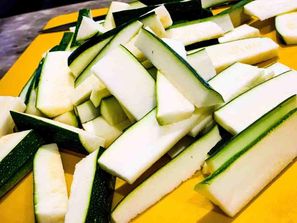 Zucchini prep for zucchini fries
