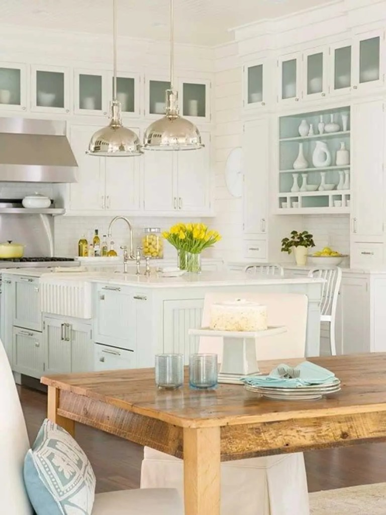 Beach House Kitchen Ideas - White and Aqua Kitchen - Beach House Kitchens - Coastal Style Decor & Design