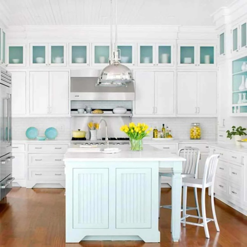 Beach House Kitchen Ideas - White and Teal Kitchen With Glass Front Cabinets - Beach House Kitchens - Coastal Style Decor & Design