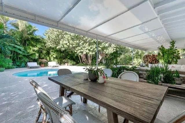 Wood Patio Table - Beach House Outdoor Living Space Ideas