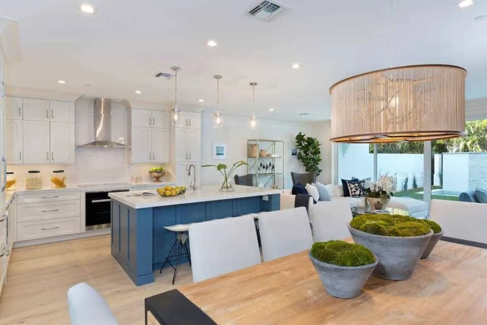 Island Contemporary - Beach House Tour - Beach House Coastal Decor Ideas - Air Bnb in Delray Beach Florida - Kitchen